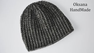 Мужская шапка крючком за один вечер. Men's hat crochet