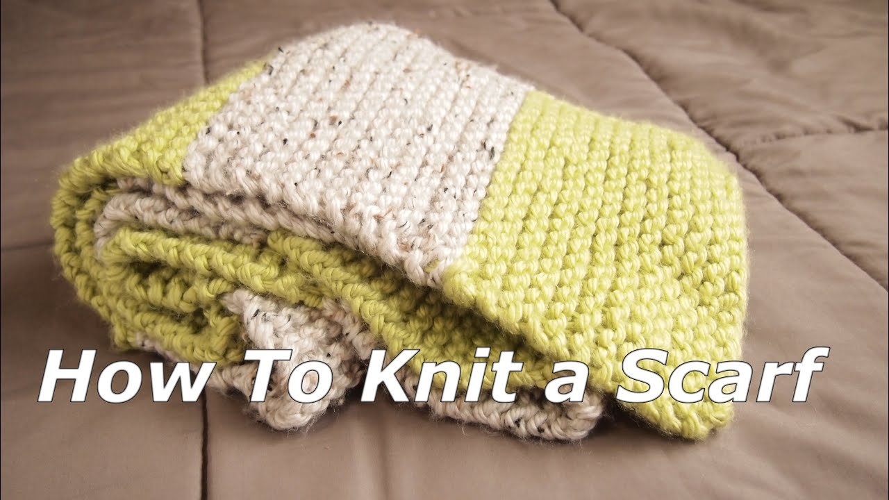 How To Knit A Multi Colors Scarf - 12 Step To Easy Knitting - YouTube
