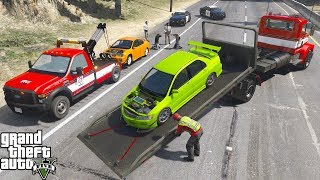 GTA 5 Real Life Mod #159 Ace Towing Tows Two Cars Impounded by The Police For Street Racing