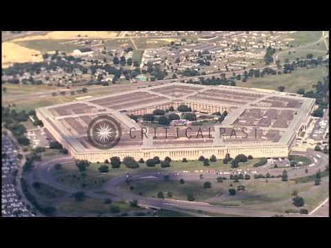 Aerial view of the Pentagon, the Potomac River and trees and fields around the Pe...HD Stock Footage