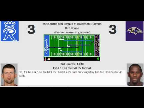 Week 9: Melbourne Uni Royals (5-3) @ Baltimore Ravens (4-4)