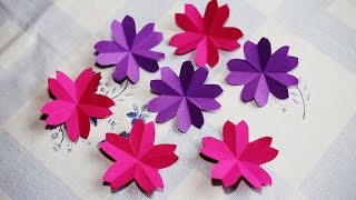 Repeat youtube video Origami Sakura Flower - How to fold a paper sakura flower - วิธีพับดอกซากุระ