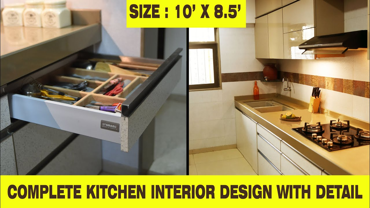 Complete Kitchen Interior Design With Detail Sizes 2020 I 10 Feet X 8 5 Feet क चन क ड ज इन In Hindi Youtube