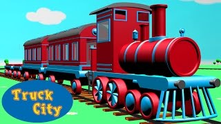 Zug und Lokomotive ringsum Truckstadt I Truckstadt Baufahrzeug-Cartoons für Kinder