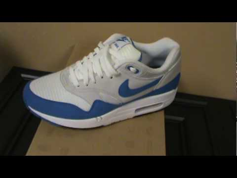 fb013adca7 Nike Air Max 1 QS White / Varsity Royal -- Neutral Grey - YouTube