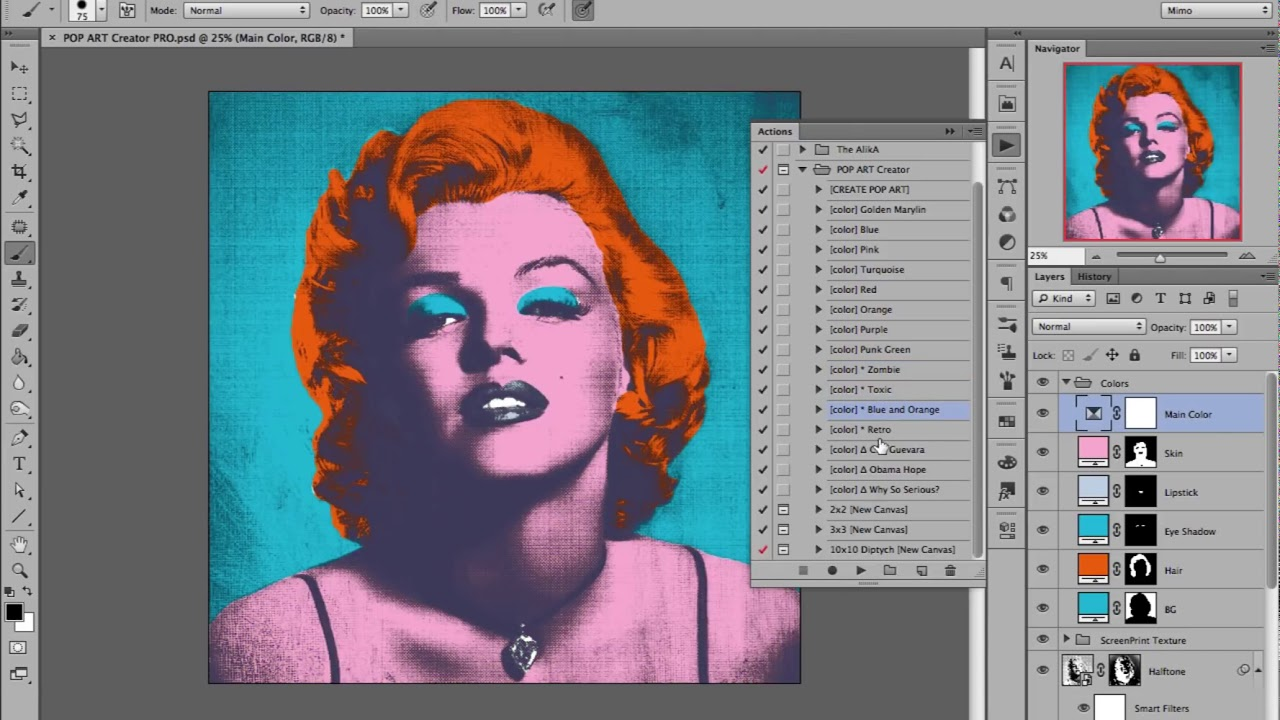 Pop Art Creator Pro Andy Warhols Marilyn Photoshop Action Youtube