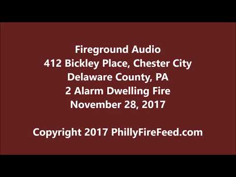 11-28-17, 412 Bickley Pl, Chester City, Delaware County, PA, 2 Alarm Dwelling Fire