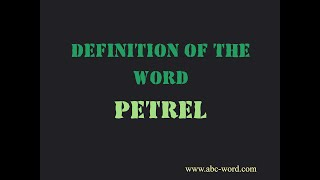"""Definition of the word """"Petrel"""""""