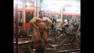 Huge muscle daddy posing in the gym