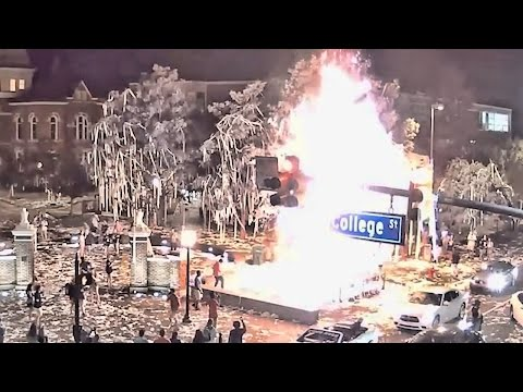 Footage Shows Start And Scale Of The Fire At Toomer's Corner