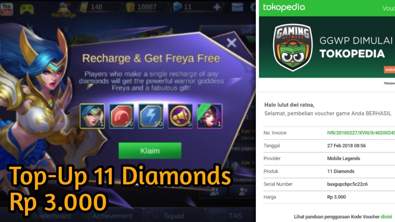 Cara Top Up Diamonds Rp 3000 Lewat Tokopedia Gratis Hero Freya