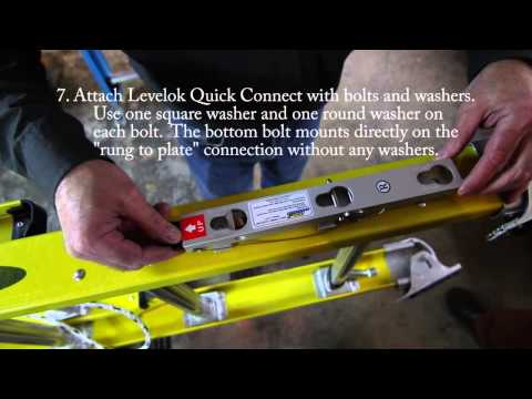 Levelok Quick Connect Ladder Leveler Installation on Werner D7100 2 Extension Ladder