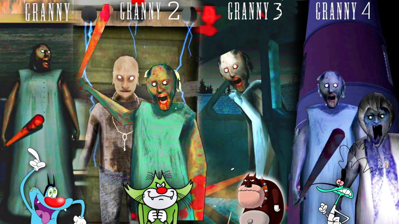 Download 🔥GRANNY vs GRANNY 2 vs GRANNY 3 vs GRANNY 4 Gameplay With Oggy and Jack Voice