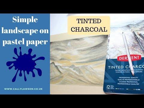 Derwent Tinted Charcoal Pencils - Landscape on pastel paper