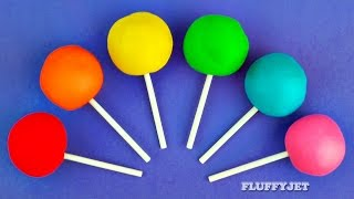 Repeat youtube video Learn Colors with Play Doh Lollipop Surprise Toys for Children Hello Kitty Shopkins Minions