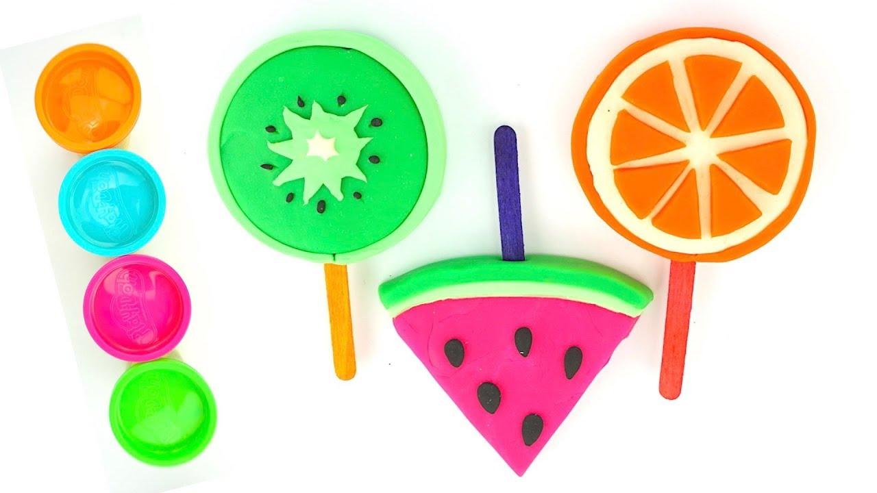 Пластилин для детей, учимся лепить фруктовые леденцы
