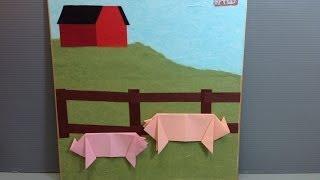 Origami Pigs On A Farm Display Shikishi
