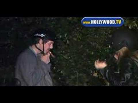 Lukas Haas Leaves Villa With a Friend.