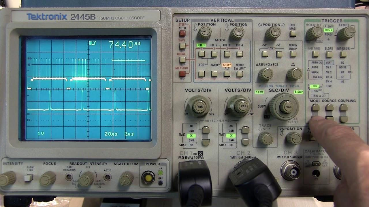 287 How To Use The Delayed B Sweep Timebase On Tektronix 2465 2445 2455 2467 Oscilloscopes Youtube