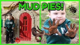 Kid Playing Outside In The Mud Making Mud Pies In Playhouse and Playing with Bugs