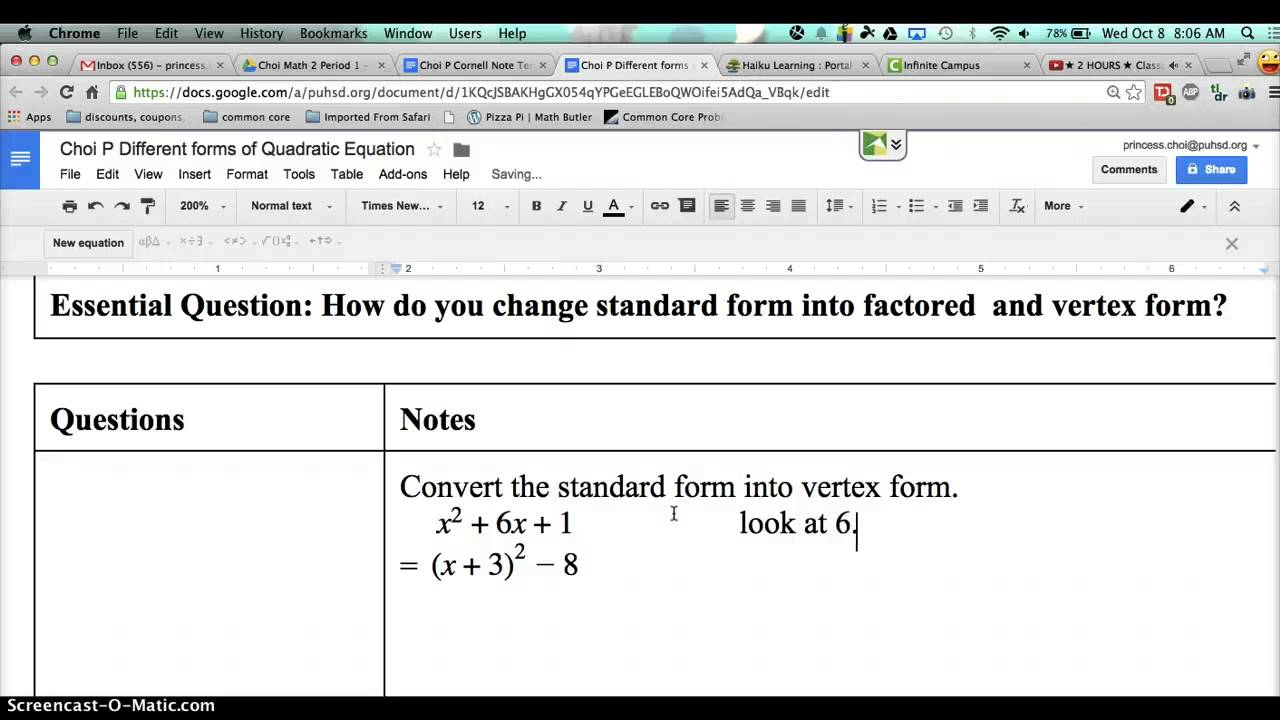 Convert from standard form to vertex form youtube convert from standard form to vertex form falaconquin