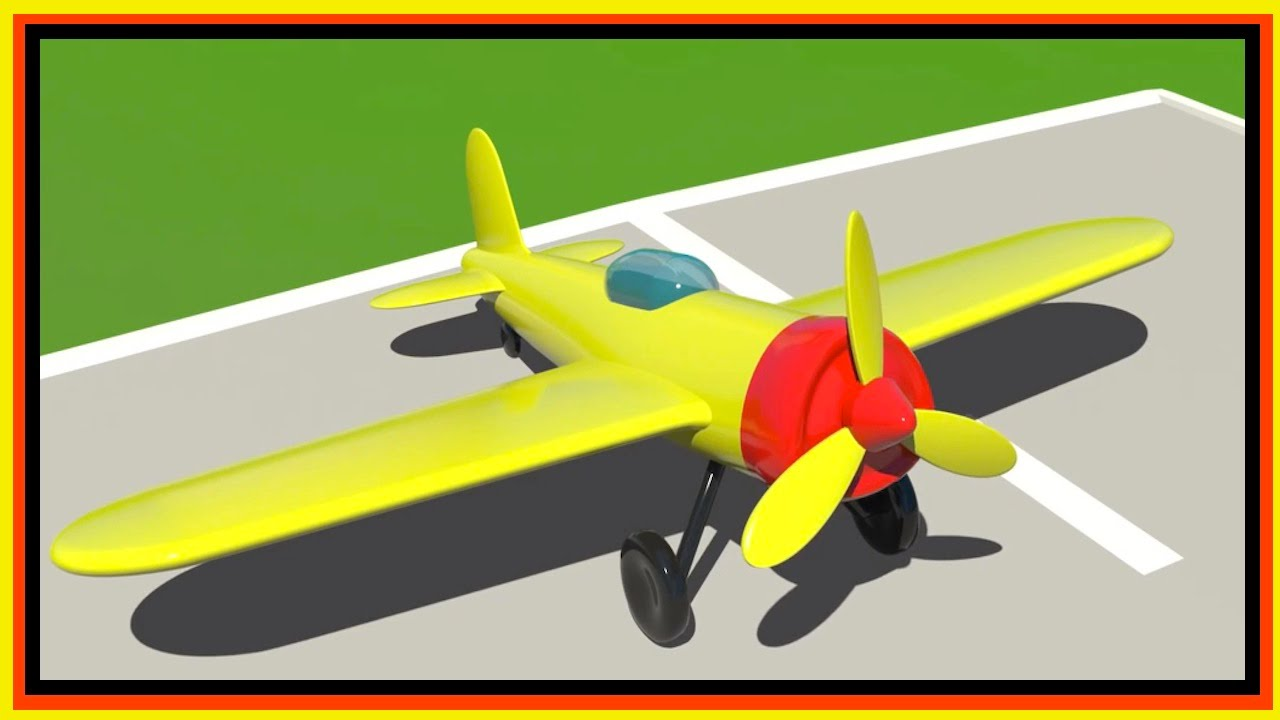 Cartoon Airport Build 3d Sports Airplane Learn Simple Numbers 1 4 Cartoon For Kids 2 Youtube
