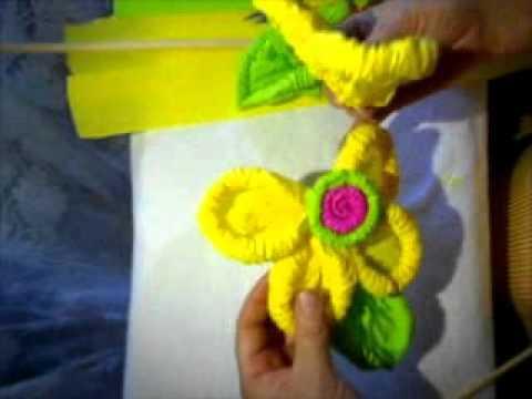 Flores de papel crepe como hacer flores de papel youtube - Hacer manualidades para decorar ...