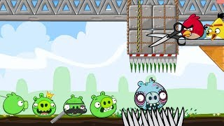 Crush Bad Piggies - ALL PIGS GOT SQUASHED BY 3 ANGRY BIRDS