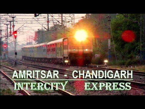 Amritsar - Chandigarh Intercity Express (LHB) with GZB WAP4 overtakes Amritsar - Sadulpur Passenger