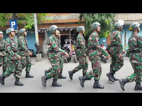 Indonesian Army Recruits Marching and Singing in Singaraja, Bali