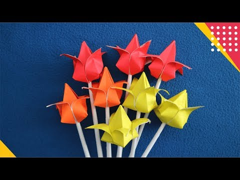 TULIP ORIGAMI - CARA MEMBUAT HIASAN BUNGA TULIP DARI KERTAS MUDAH (How to fold flower easy Tutorial)