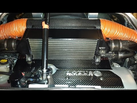 """17of30 - Carbon Fiber Wide Scoops & Intercooler Shroud With Dual 4"""" Ducts"""