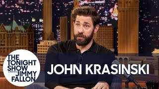 John Krasinski talks to Jimmy about the time he got beaned in the head by a fully loaded bagel in New York City, his daughter's Jedi mind tricks and how a customs agent reacted to learning his wife is Emily Blunt.  Subscribe NOW to The Tonight Show Starring Jimmy Fallon: http://bit.ly/1nwT1aN  Watch The Tonight Show Starring Jimmy Fallon Weeknights 11:35/10:35c Get more Jimmy Fallon:  Follow Jimmy: http://Twitter.com/JimmyFallon Like Jimmy: https://Facebook.com/JimmyFallon  Get more The Tonight Show Starring Jimmy Fallon:  Follow The Tonight Show: http://Twitter.com/FallonTonight Like The Tonight Show: https://Facebook.com/FallonTonight The Tonight Show Tumblr: http://fallontonight.tumblr.com/  Get more NBC:  NBC YouTube: http://bit.ly/1dM1qBH Like NBC: http://Facebook.com/NBC Follow NBC: http://Twitter.com/NBC NBC Tumblr: http://nbctv.tumblr.com/ NBC Google+: https://plus.google.com/+NBC/posts  The Tonight Show Starring Jimmy Fallon features hilarious highlights from the show including: comedy sketches, music parodies, celebrity interviews, ridiculous games, and, of course, Jimmy's Thank You Notes and hashtags! You'll also find behind the scenes videos and other great web exclusives.  London Customs Agent Couldn't Believe John Krasinski Is Married to Emily Blunt http://www.youtube.com/fallontonight