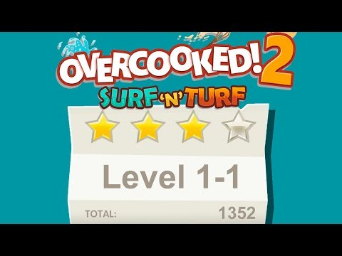 Overcooked 2. Surf 'n' Turf DLC. Level 1-1. 4 Stars. 2 Player Co-op |