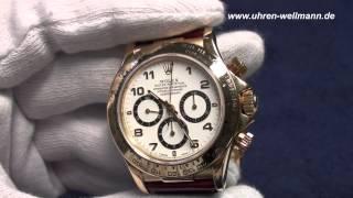 Rolex Daytona 16518 18K Gold(http://www.uhren-wellmann.de - Handel mit hochwertigen Uhren Video einer Rolex Daytona Chronograph 16518 18K Gold mit Lederband und Faltschließe, ..., 2012-11-10T14:20:23.000Z)