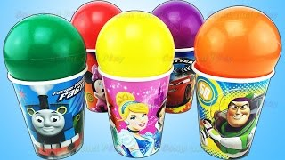 balls surprise cups disney princess mickey mouse toy story learn colors play doh popsicle ice cream