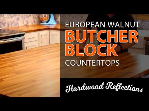 Beautiful DIY Kitchen Remodel Using European Walnut Butcher Block with Extra Large Island