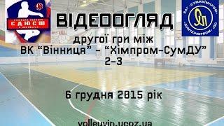 """Волейбол.  Відеоогляд другої гри між ВК """"Вінниця"""" і """"Хімпром-СумДУ"""" (06.12.2015)"""