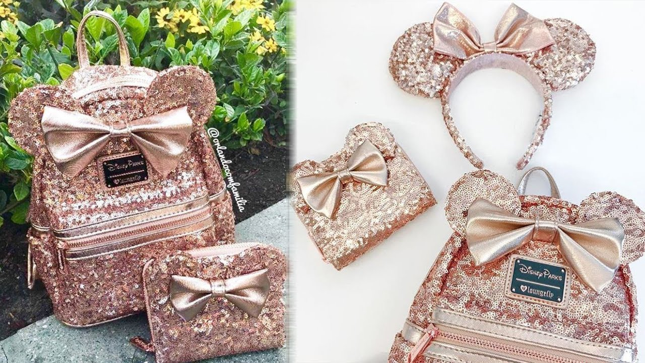 5732484e6a9 Disney Debuts New SEQUIN Rose Gold Minnie Mouse Backpack Line - YouTube
