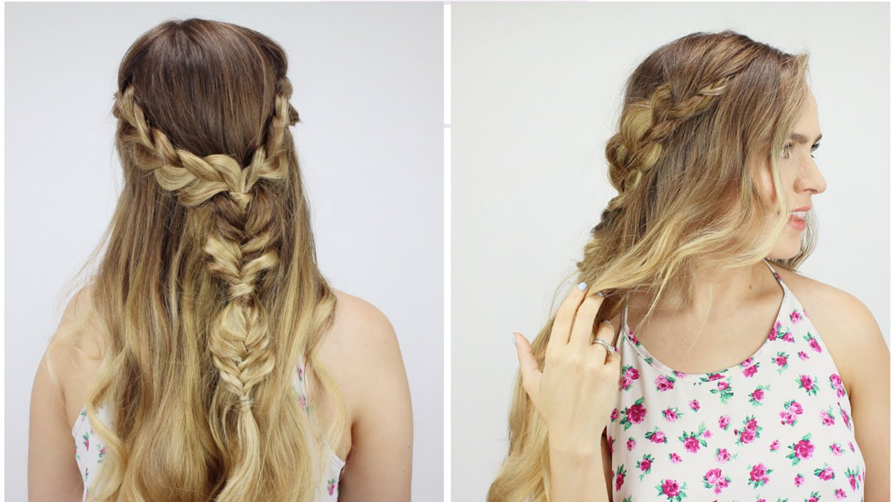 Bohemian Half Updo With Just 4 Braids YouTube