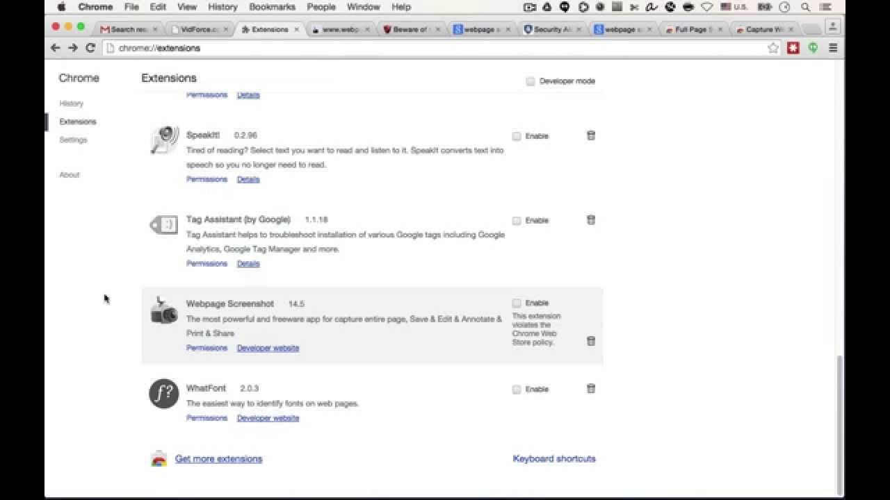 chrome extensions screenshot