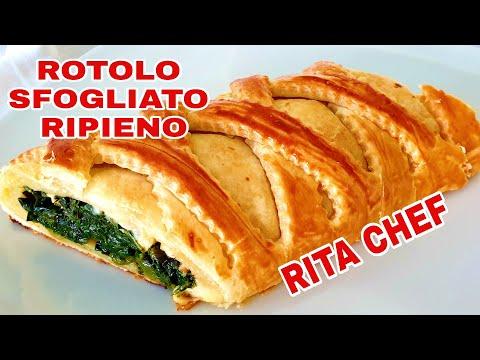 ROTOLO DI PASTA SFOGLIA RIPIENO Di RITA CHEF/ROLL OF PUFF PASTRY STUFFED/ROULEAU  DE PÂTE FEUILLETÉE
