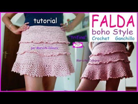 ca13494c8 Bella Falda BOHO STYLE Ganchillo Crochet SIN COSTURAS!