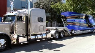 Peterbilt with Brad Benson's 52′ MTI Pass Blocker catamaran