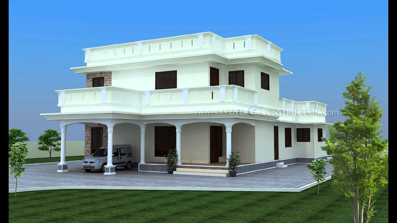 Kerala traditional and modern style 3d elevation youtube for Kerala residential building elevations