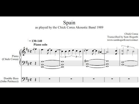"Chick Corea ""Spain"" complete piano transcription plus bass (John Patitucci) from Akoustic Band 1989"