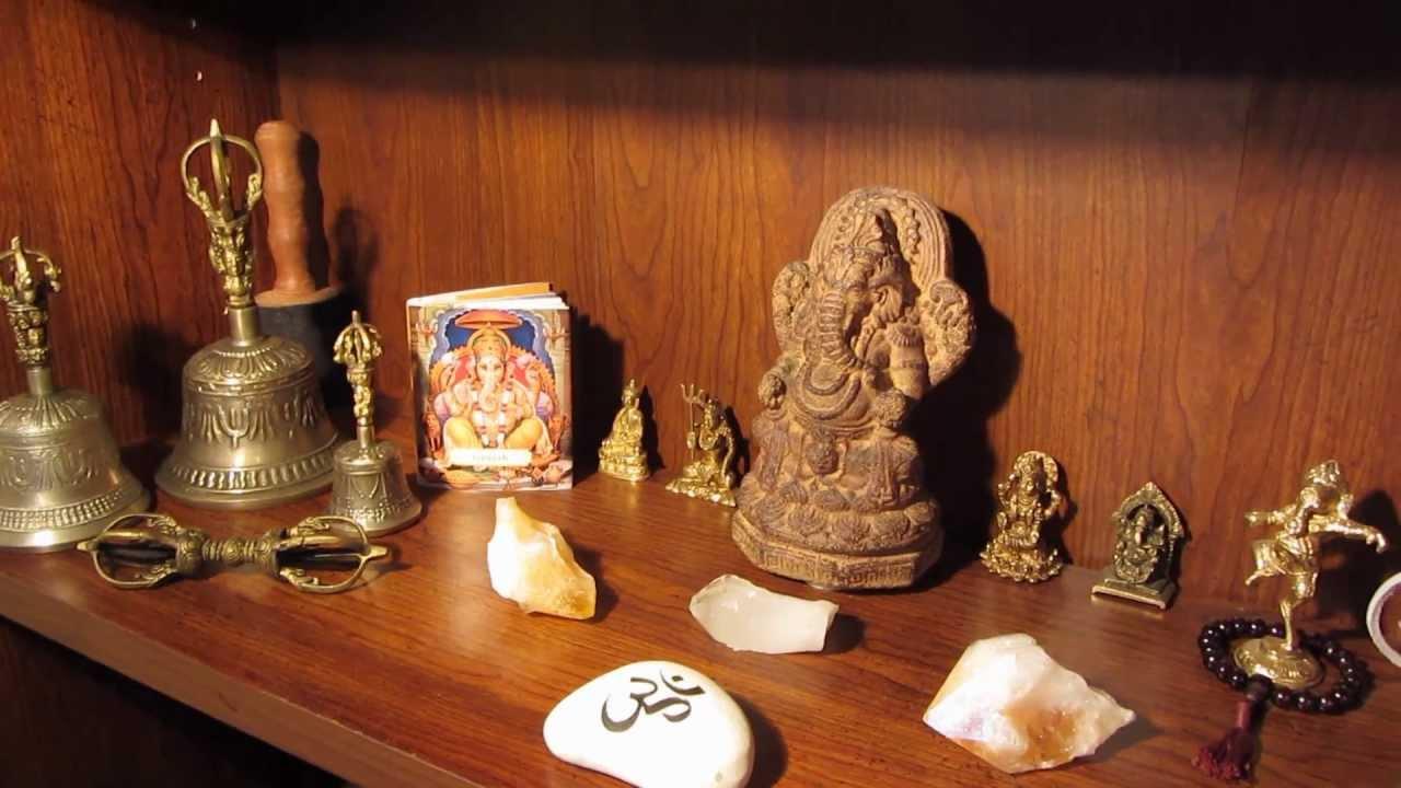 Ganesh Altar And Singing Bowls And Bells Sound Healing
