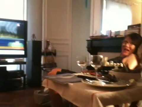 Crazy Japanese housewife in front of tv during Japan-Denmark ^^