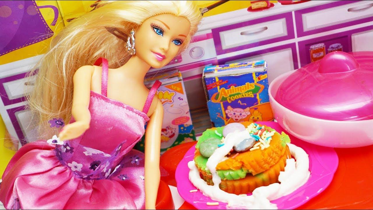 Barbie Doll Kitchen Toys Barbie Cooking Cake Brinquedos De Cozinha Mainan Anak Masak Masakan Kue Youtube
