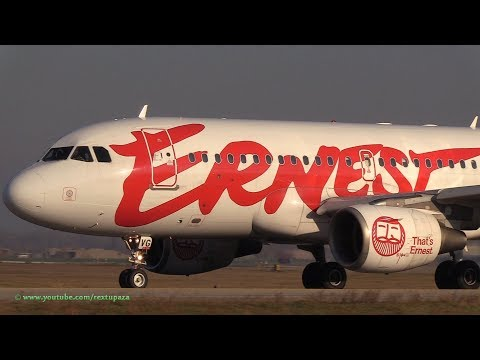 [CLOSE UP] Ernest Airlines, Airbus A319 Landing & Takeoff @ G.Marconi Bologna Airport